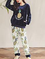 abordables -Col Arrondi Costumes Pyjamas Femme Géométrique