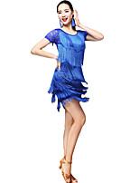 baratos -Dança Latina Roupa Mulheres Espetáculo Fibra de Leite Estampa / Mocassim / Combinação Manga Curta Caído Saias / Blusa