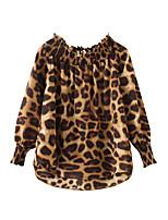 Недорогие -женский фонарь рукав свободная футболка - леопард с плеч