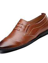 Недорогие -Муж. Комфортная обувь Кожа Лето На каждый день Мокасины и Свитер Дышащий Контрастных цветов Черный / Темно-русый / Темно-коричневый