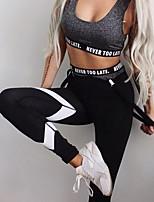abordables -Femme Pantalon de yoga - Noir Des sports Imprimé, Bloc de Couleur Leggings Course / Running, Fitness, Faire des exercices Tenues de Sport Doux, Butt Lift, Contrôle du Ventre Elastique Slim / Hiver