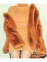 Недорогие -Жен. Повседневные Классический Обычная Искусственное меховое пальто, Однотонный Отложной Длинный рукав Полиэстер Желтый L / XL / XXL