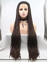 Недорогие -Синтетические кружевные передние парики переплетенный Стрижка каскад 130% Человека Плотность волос Искусственные волосы 26 дюймовый Женский Темно-коричневый Парик Жен. Средняя длина Лента спереди