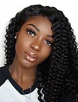 Недорогие -человеческие волосы Remy Необработанные натуральные волосы Полностью ленточные Лента спереди Парик Бразильские волосы Афро Квинки Kinky Curly Парик 130% Плотность волос / Природные волосы