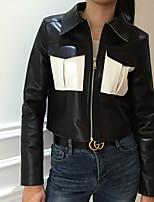 Недорогие -Жен. Повседневные Уличный стиль Обычная Кожаные куртки, Однотонный Отложной Длинный рукав Полиэстер Черный S / M / L / Тонкие