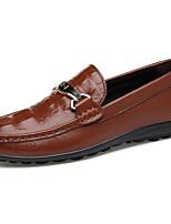 Недорогие -Муж. Кожаные ботинки Наппа Leather Весна На каждый день / Английский Мокасины и Свитер Массаж Белый / Коричневый