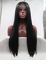 Недорогие -Sylvia Синтетические кружевные передние парики Естественные прямые Стрижка каскад 130% Человека Плотность волос Искусственные волосы 26 дюймовый Женский Черный Парик Жен. Средняя длина Лента спереди