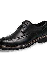 Недорогие -Муж. Комфортная обувь Полиуретан Зима Английский Туфли на шнуровке Нескользкий Черный / Серый / Коричневый