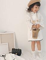 Недорогие -Дети Девочки Классический Однотонный Длинный рукав Обычная Полиэстер Костюм / блейзер Белый 100