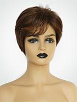 Недорогие -Человеческие волосы без парики Натуральные волосы Естественный прямой Стрижка боб Модный дизайн / Новый дизайн / Удобный Коричневый Короткие Без шапочки-основы Парик Жен.