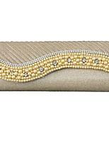 Недорогие -Жен. Мешки ПВХ Вечерняя сумочка Бусины Золотой / Белый