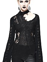 abordables -Steampunk Costume Femme Chemisier / Chemise Noir Vintage Cosplay Polyester Manches Longues Fendu