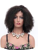 Недорогие -Remy Полностью ленточные Лента спереди Парик Бразильские волосы Kinky Curly Мелкие кудри Парик Ассиметричная стрижка 130% Плотность волос Мягкость Классический Женский Черный Жен. Средняя длина