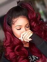 Недорогие -Remy Лента спереди Парик Бразильские волосы Волнистый Естественные кудри Вино Парик Ассиметричная стрижка 130% 150% Плотность волос Мягкость Классический Женский Нейтральный Вино Жен. Длинные