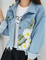 Недорогие -Жен. Повседневные Обычная Джинсовая куртка, Цветочные / ботанический Рубашечный воротник Длинный рукав Полиэстер Светло-синий XXXL / XXXXL / XXXXXL