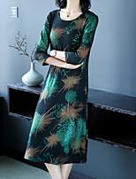 Недорогие -Жен. Классический Большие размеры Брюки Цветочный Зеленый / U-образный вырез