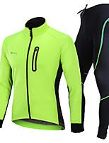 Недорогие -Nuckily Велокуртка и брюки - Черный / Зеленый / Синий Велоспорт С защитой от ветра, Зима, Спандекс Однотонный