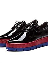 baratos -Mulheres Sapatos Confortáveis Pele Napa Primavera Tênis Sem Salto Dedo Apontado Preto / Cinzento