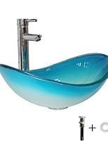Недорогие -умывальник для ванной / смеситель для ванной / монтажное кольцо для ванной Современный - Закаленное стекло Круглый