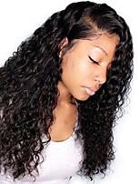 Недорогие -человеческие волосы Remy Необработанные натуральные волосы Полностью ленточные Лента спереди Парик Бразильские волосы Волнистый Крупные кудри Парик 130% Плотность волос / Природные волосы