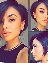 Недорогие -человеческие волосы Remy Полностью ленточные Лента спереди Парик Бразильские волосы Прямой Естественный прямой Черный Парик Стрижка боб Ассиметричная стрижка 130% 150% 180% Плотность волос