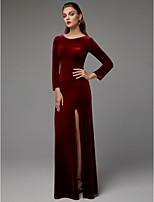 abordables -Fourreau / Colonne Bijoux Longueur Sol Velours Soirée Formel Robe avec Avant Fendu par TS Couture®