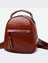 Недорогие -Жен. Мешки PU рюкзак Молнии Сплошной цвет Черный / Коричневый / Винный