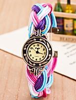 Недорогие -Жен. Дамы Наручные часы Кварцевый Повседневные часы Милый Ткань Группа Аналоговый Мода Цветной Розовый / Фуксия / Желтый - Синия / Черный Персиково-красный: Черный / Белый