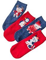 Недорогие -4 пары Мальчики / Девочки Носки Standard Рождество / Северный олень Calm Простой стиль Хлопок 1-3 года