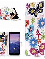 Недорогие -Кейс для Назначение Huawei Mate 10 lite / Mate 9 Pro Кошелек / Бумажник для карт / со стендом Чехол Бабочка Твердый Кожа PU для Mate 10 / Mate 10 pro / Mate 10 lite