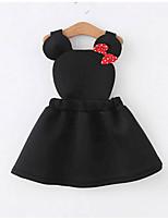 baratos -Infantil / Bébé Para Meninas Básico Sólido Manga Longa Vestido Preto