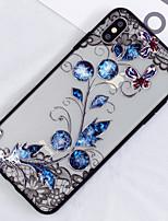 Недорогие -Кейс для Назначение Apple iPhone XS / iPhone XS Max Полупрозрачный / С узором Кейс на заднюю панель Цветы Твердый ПК для iPhone XS / iPhone XR / iPhone XS Max