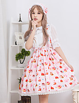 abordables -Doux Lolita Simple Fille Robes Cosplay Rose Sans Manches Sans Manches Manches Courtes Midi Les costumes