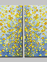 abordables -Peinture à l'huile Hang-peint Peint à la main - Abstrait / A fleurs / Botanique Moderne Inclure cadre intérieur / Toile tendue