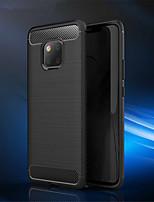 Недорогие -Кейс для Назначение Huawei Huawei Mate 20 Pro / Huawei Mate 20 Рельефный Кейс на заднюю панель Однотонный Мягкий Углеродное волокно для Mate 10 / Mate 10 pro / Mate 10 lite