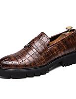 Недорогие -Муж. Комфортная обувь Искусственная кожа Осень Английский Мокасины и Свитер Высота возрастающей Черный / Коричневый / С кисточками