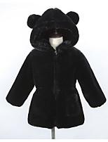 Недорогие -Дети Девочки Активный Повседневные Однотонный Длинный рукав Обычная Искусственный мех Куртка / пальто Черный 110