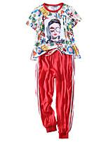 baratos -Mulheres Gola Redonda Cintura elástica / Com Cordão / Perna larga Conjunto Camiseta e Calça de Corrida - Vermelho, Azul Esportes Estampado, Moderno Elastano Calças / Blusas Fitness, Ginásio / Inverno