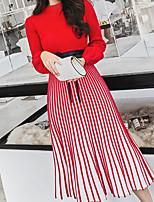 abordables -Femme Basique Maxi Balançoire Robe Couleur Pleine / Rayé Taille haute Col Ras du Cou Noir Rouge Rose Claire S M L Manches Longues