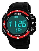 baratos -Homens Relógio Esportivo Japanês Digital 30 m Impermeável Alarme Calendário Silicone Banda Digital Fashion Preta - Preto / Vermelho Preto / Azul