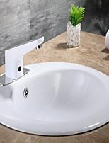 Недорогие -Смеситель для раковины в ванной комнате - Датчик хромированная стоящая свободная система громкоговорителей для ванны с одним отверстием