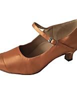 Недорогие -Жен. Обувь для латины Сатин На каблуках Кубинский каблук Танцевальная обувь Миндальный