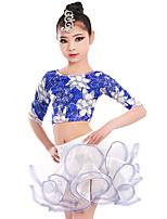 billiga -Latinamerikansk dans Outfits Flickor Träning / Prestanda Elastan / Lycra Veckad / Vågliknande Långärmad Kjolar / Topp