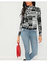 Недорогие -женская тощая футболка - письмо / сплошной цветной круглый шею
