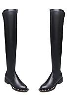Недорогие -Жен. Наппа Leather Осень Ботинки На толстом каблуке Закрытый мыс Сапоги выше колена Черный