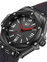baratos -ASJ Relógio Esportivo Emissores Impermeável, Calendário Preto / Preto / Prateado / Um ano / Japanês / Couro Legitimo / Japanês / SSUO AG4