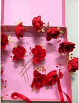 Недорогие -Жен. Красный Старинный Комплект ювелирных изделий - Искусственный жемчуг Гипсофила Этнический Включают Шпильки для волос Украшения для лба Красный Назначение Свадьба Для вечеринок
