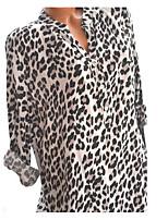 Недорогие -Жен. Футболка Хлопок, V-образный вырез Свободный силуэт Классический Леопард