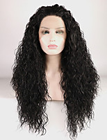 cheap -Synthetic Wig Curly / Natural Wave Free Part 180% Density Synthetic Hair 18-26 inch Adjustable / Heat Resistant / Elastic Black Wig Women's Long Lace Front Natural Black