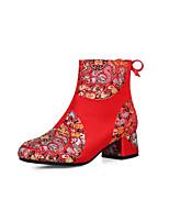 baratos -Mulheres Sintéticos Primavera & Outono Doce / Temática Asiática Sapatos De Casamento Salto Robusto Ponta Redonda Botas Cano Médio Vermelho